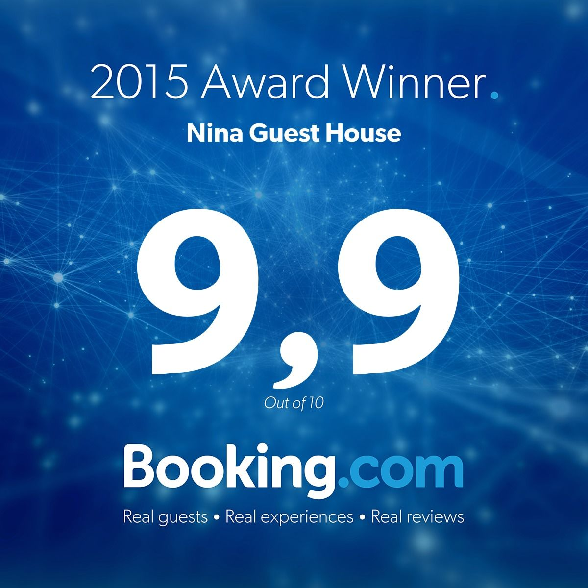 Avarage 2015 Rating of Vacation Rental Home Nina Guest House on Booking.com 9.9/10