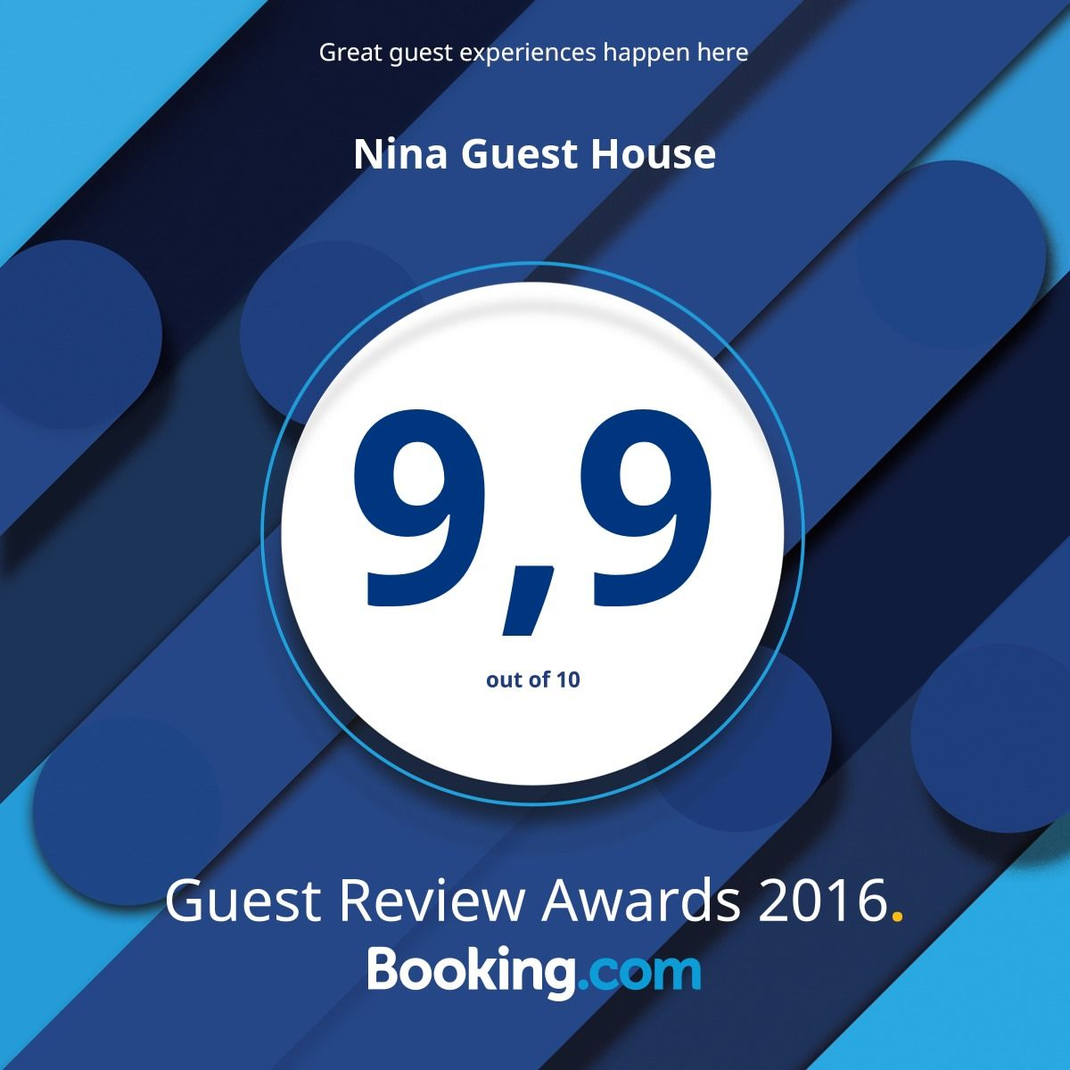 Avarage Rating Vacation Rental Home Nina Guest House on Booking.com